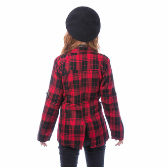 kabátek dámský (sako) CHEMICAL BLACK - SARDONYX - RED TARTAN, CHEMICAL BLACK