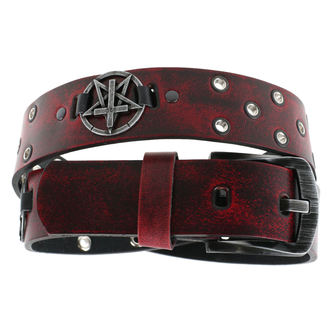 pásek Pentagram Cross - red, JM LEATHER