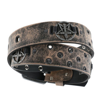 pásek Pentagram Cross - brown, JM LEATHER