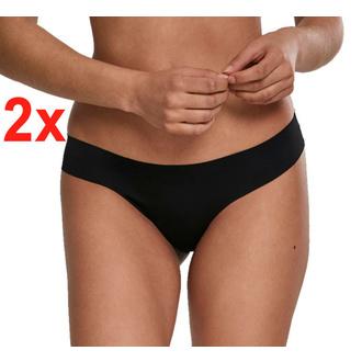 kalhotky dámské (tanga) URBAN CLASSICS - 2-Pack set - Seamless String - black, URBAN CLASSICS