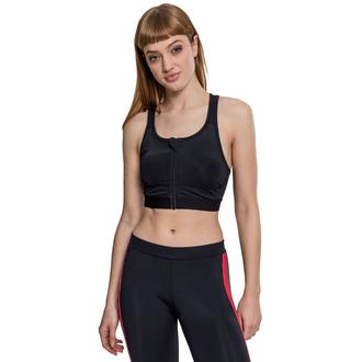 podprsenka sportovní URBAN CLASSICS - Tech Mesh Zipped Bra - black, URBAN CLASSICS