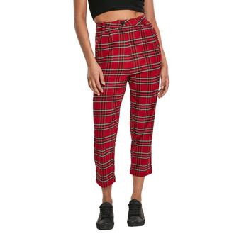 kalhoty dámské URBAN CLASSICS - High Waist Checker Cropped - red/blk - TB2846