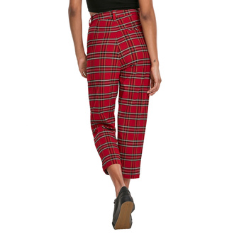 kalhoty dámské URBAN CLASSICS - High Waist Checker Cropped - red/blk, URBAN CLASSICS