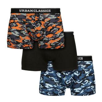 boxerky pánské URBAN CLASSICS - 3-Pack - blue camo/orange, URBAN CLASSICS