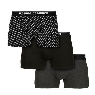 boxerky pánské URBAN CLASSICS - 3-Pack - branding AOP/blac, URBAN CLASSICS
