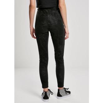 kalhoty dámské (legíny) URBAN CLASSICS - Washed Faux Leather Pants - black, URBAN CLASSICS