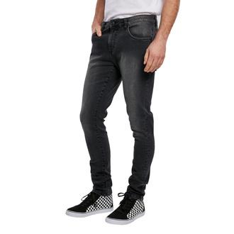 kalhoty pánské URBAN CLASSICS - Slim Fit Zip Jeans - real black washed - TB3798