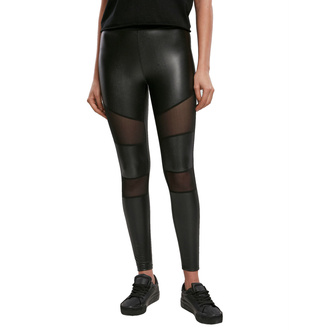 kalhoty dámské (legíny) URBAN CLASSICS - Tech Mesh Faux Leather Leggings - black, URBAN CLASSICS