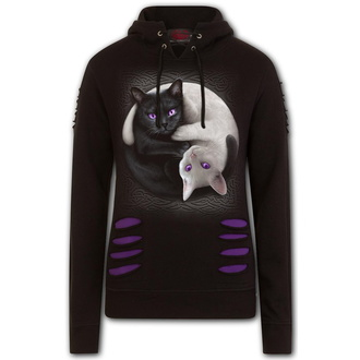 mikina dámská SPIRAL - YIN YANG CATS - Purple/Black, SPIRAL
