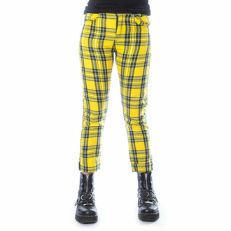 kalhoty dámské CHEMICAL BLACK - XYLIA - YELLOW TARTAN, CHEMICAL BLACK