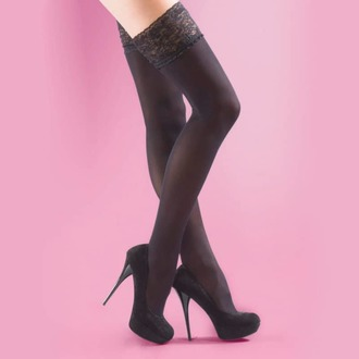 punčocháče LEGWEAR - 40 denier opaque lace top hold ups - black, LEGWEAR