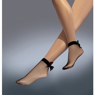 ponožky LEGWEAR - Fishnet bow ankle highs - Black, LEGWEAR