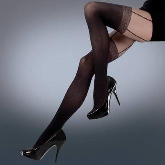 punčocháče LEGWEAR - mock lace suspender - black, LEGWEAR