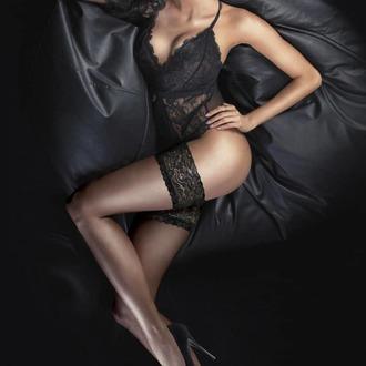 punčocháče LEGWEAR - Ultra gloss lace top hold ups - Barely black, LEGWEAR