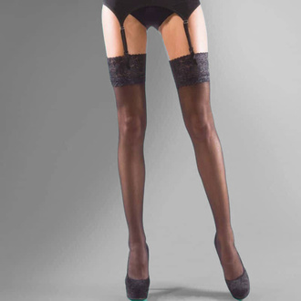 punčocháče LEGWEAR - shine lace top - black, LEGWEAR